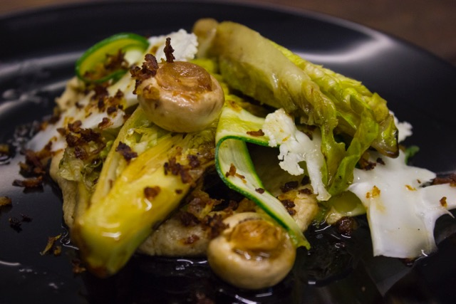 Grilled gem salad with cauliflower